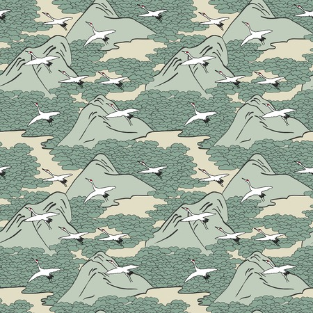 Japanese art inspired seamless pattern of gliding cranes over mountains Иллюстрация