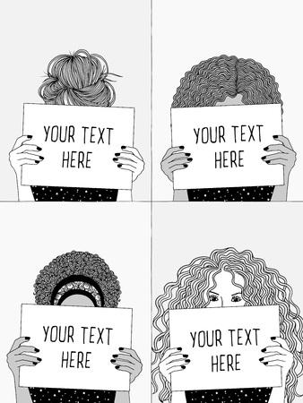 空の書類や看板を持ち、看板の後ろに顔を隠す4人の少女の手描きの白黒イラスト