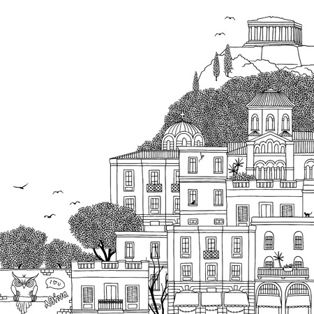 Hand drawn black and white illustration of Athens, Greece with empty space for text Vettoriali