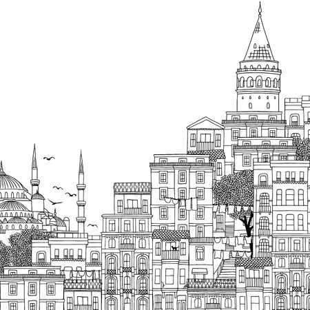 Hand drawn black and white illustration of Istanbul, Turkey with empty space for text