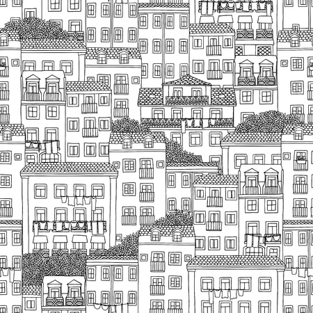 Hand drawn seamless pattern of Portuguese houses