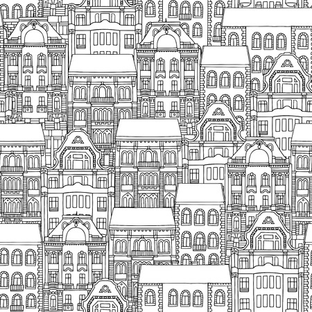 Hand drawn seamless pattern of Hungarian style houses