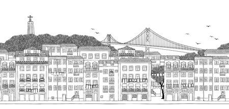 Lisbona, Portogallo banner senza soluzione di continuità dell'orizzonte della città, illustrazione in bianco e nero disegnata a mano.