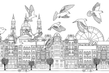 Birds over Budapest - hand drawn black and white illustration of the city with a flock of pigeons