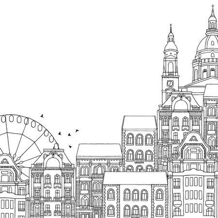 Hand drawn black and white illustration of Budapest, Hungary, with empty space for text