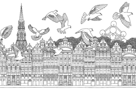 Birds over Brussels  on hand drawn black and white illustration of the city with a flock of pigeons