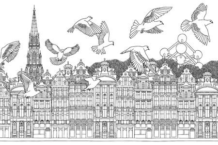Vogels over Brussel bij de hand getekende zwart-wit afbeelding van de stad met een zwerm duiven Vector Illustratie