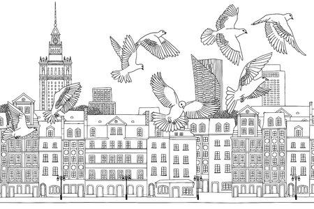 Birds over Warsaw - hand drawn black and white illustration of the city with a flock of pigeons