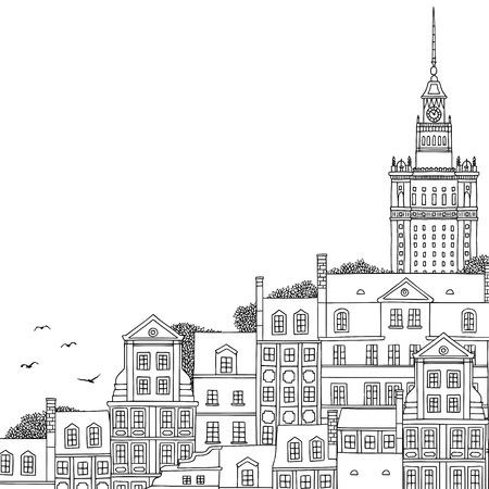 Dibujado a mano ilustración en blanco y negro de Varsovia, Polonia, con espacio vacío para texto