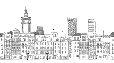 Warsaw, Poland - Seamless banner of the city's skyline, hand drawn black and white illustration Vectores