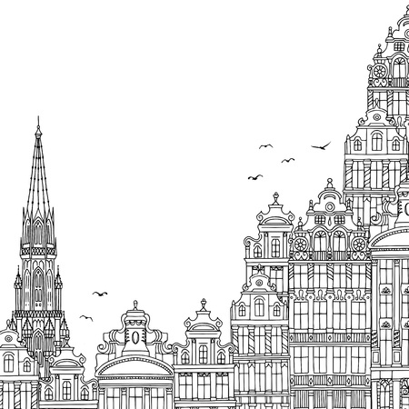 Hand drawn black and white illustration of Brussels, Belgium with empty space for text