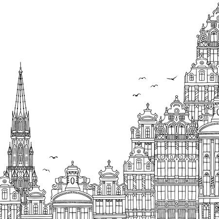 Hand getekend zwart-wit afbeelding van Brussel, België met lege ruimte voor tekst