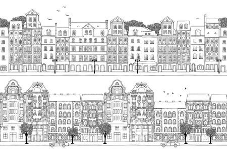 Zwei handgezeichnete nahtlose Stadtbanner - polnische und ungarische Häuser