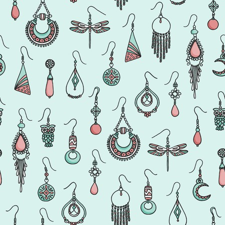 Seamless pattern with hand drawn earrings Stock Illustratie