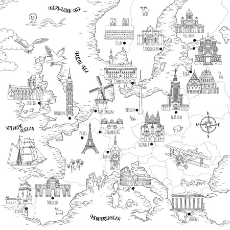 Hand drawn map of Europe with selected capitals and landmarks, vintage style