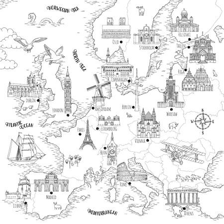 Ręcznie rysowane mapa Europy z wybranymi stolicami i zabytkami, styl vintage