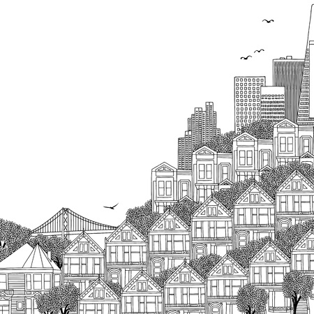 Hand drawn black and white illustration of San Francisco with Victorian houses and empty space for text Illustration