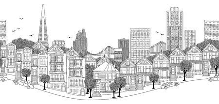 San Francisco, USA - seamless banner of the citys skyline, hand drawn black and white illustration  イラスト・ベクター素材