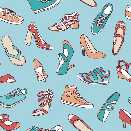Seamless pattern with various hand drawn shoes