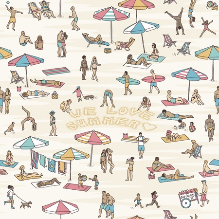 Hand drawn seamless pattern with tiny people at the beach, three of them writing the words we love summer into the sand Illustration