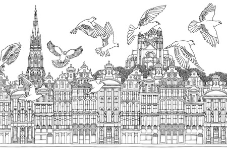 Birds over Brussels - hand drawn black and white illustration of the city with a flock of pigeons