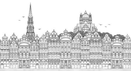 Bruselas, Bélgica - Banner transparente del horizonte de la ciudad, dibujado a mano ilustración en blanco y negro