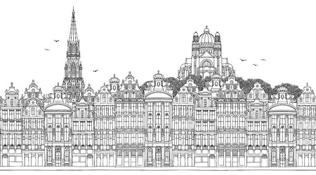 Brussels, Belgium - Seamless banner of the city's skyline, hand drawn black and white illustration 免版税图像 - 102878006
