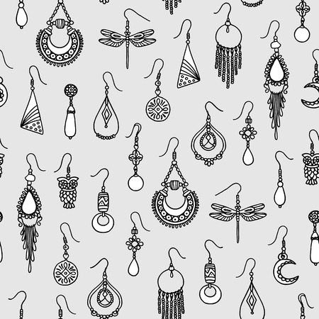 Seamless pattern with hand drawn earrings, black and white