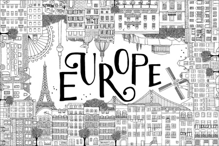 Postcard template with hand drawn houses of Paris, Lisbon, Amsterdam, Athens, Rome, Berlin and London