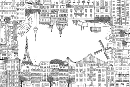 Greeting card frame with hand drawn houses of Paris, Lisbon, Amsterdam, Athens, Rome, Berlin and London