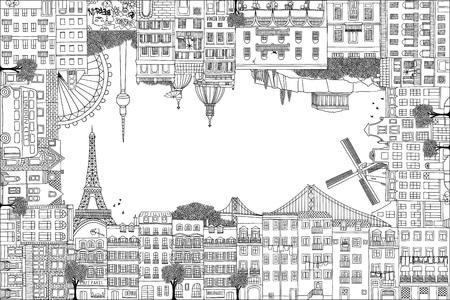 Marco de tarjeta de felicitación con casas dibujadas a mano de París, Lisboa, Ámsterdam, Atenas, Roma, Berlín y Londres
