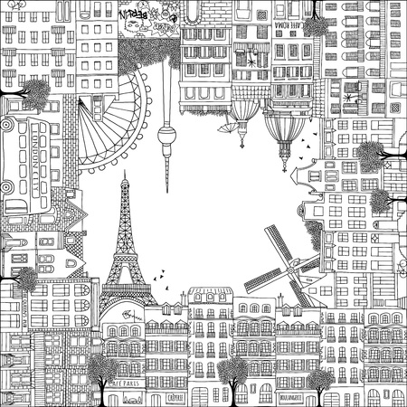 Greeting card frame with hand drawn houses of Paris, Amsterdam, Rome, Berlin and London Ilustrace