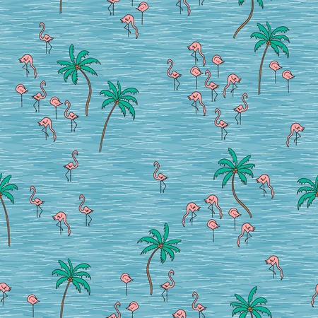 Hand drawn seamless pattern with cute tiny flamingos