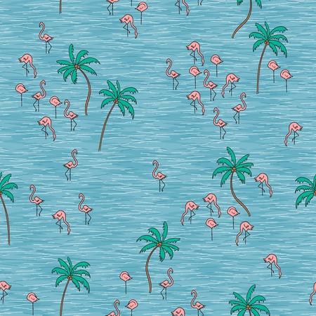 Hand getekend naadloze patroon met schattige kleine flamingo's Vector Illustratie