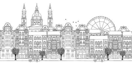 Boedapest, Hongarije - Naadloze banner van de skyline van de stad, met de hand getekende zwart-wit afbeelding Vector Illustratie