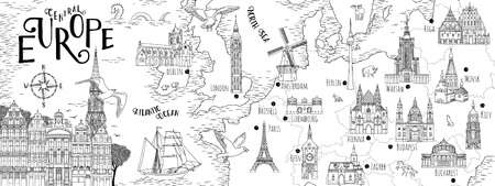 Hand drawn map of Central Europe with selected capitals and landmarks, vintage web banner 版權商用圖片 - 103749796