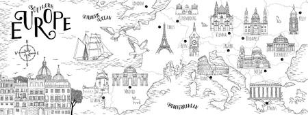 Hand gezeichnete Karte von Südeuropa mit ausgewählten Hauptstädten und Wahrzeichen, Vintage Web-Banner Vektorgrafik