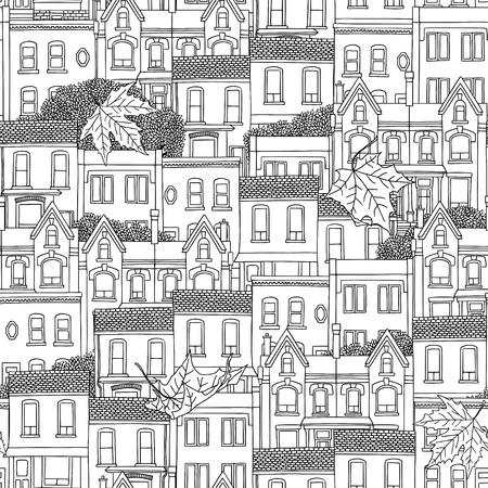 Hand drawn seamless pattern of Canadian houses Иллюстрация