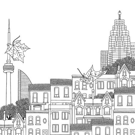 Hand drawn black and white illustration of Toronto, Canada, with empty space for text