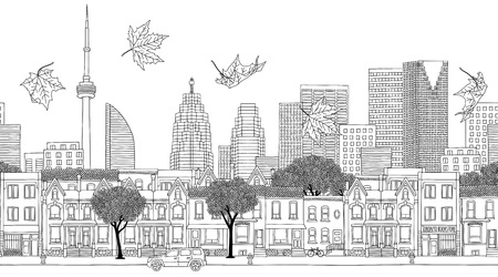 Toronto, Canada - Seamless banner of city skyline, hand drawn black and white illustration