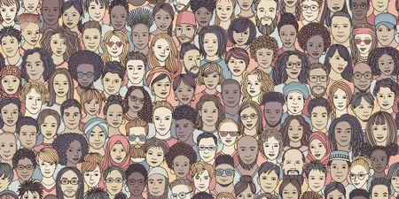 Diverse crowd of people - seamless banner of 100 different hand drawn faces of various ethnicities Illustration