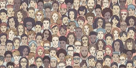 Diverse menigte van mensen - naadloze banner van 100 verschillende handgetekende gezichten van verschillende etniciteiten Stockfoto - 107283247