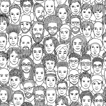 Men - hand drawn seamless pattern of a crowd of different men from diverse ethnic backgrounds in black and white Illustration