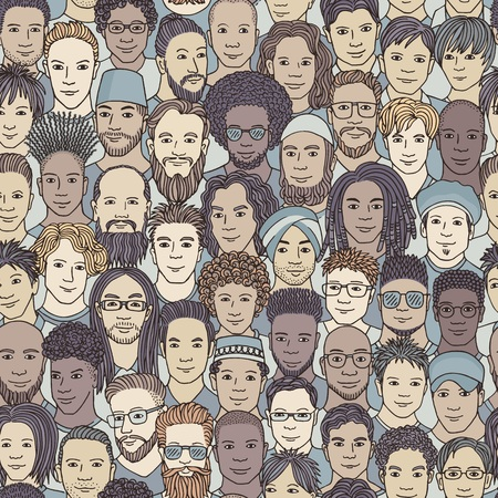 Men - hand drawn seamless pattern of a crowd of different men from diverse ethnic backgrounds Çizim