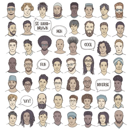 Set of fifty hand drawn male faces, colorful and diverse portraits of men of different ethnicities Illustration