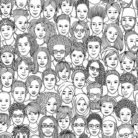 Diverse menigte van mensen - naadloos patroon van hand getrokken gezichten van verschillende etniciteiten