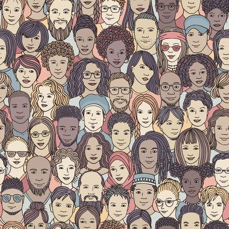 Diverse crowd of people - seamless pattern of hand drawn faces of various ethnicities