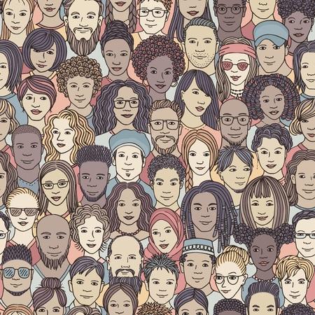 Vielfältige Menschenmenge - nahtloses Muster von handgezeichneten Gesichtern verschiedener Ethnien