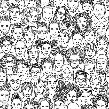 Vielfältige Menschenmenge - nahtloses Muster von handgezeichneten Gesichtern verschiedener Ethnien Vektorgrafik