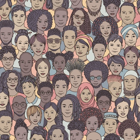 Diverse crowd of people - seamless pattern of hand drawn faces of various ethnicities Stock Vector - 107283259